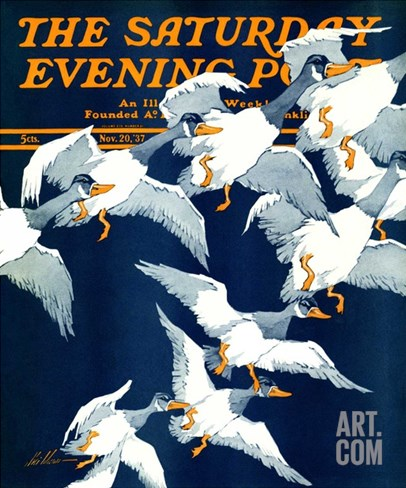 """Flying South,"" Saturday Evening Post Cover, November 20, 1937 Stretched Canvas Print"