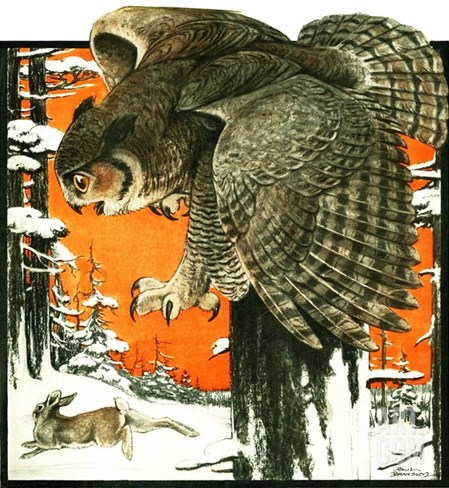 """Owl and Rabbit,""March 14, 1925 Stretched Canvas Print"