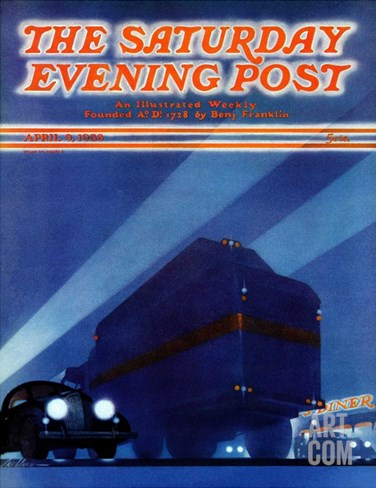 """Highway Diner,"" Saturday Evening Post Cover, April 9, 1938 Stretched Canvas Print"