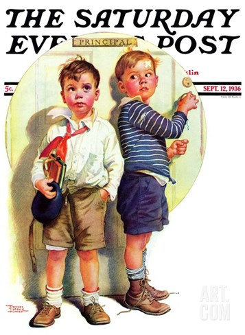 """School Fight,"" Saturday Evening Post Cover, September 12, 1936 Stretched Canvas Print"