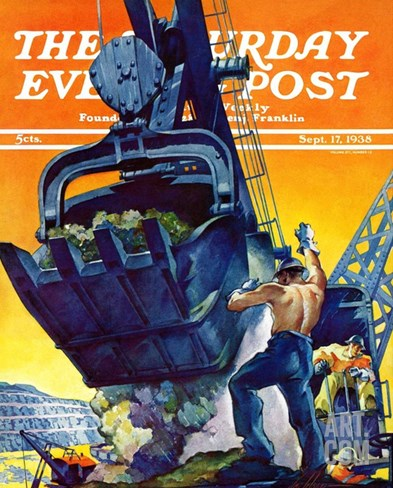 """Steam Shovel,"" Saturday Evening Post Cover, September 17, 1938 Stretched Canvas Print"