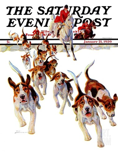 """After the Scent,"" Saturday Evening Post Cover, January 21, 1939 Stretched Canvas Print"