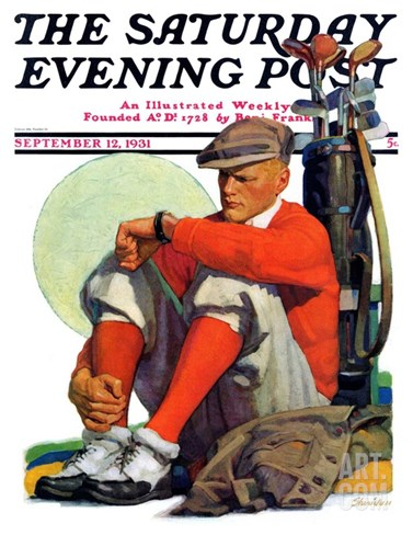 """Golfer Kept Waiting,"" Saturday Evening Post Cover, September 12, 1931 Stretched Canvas Print"