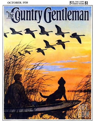 """Geese in Formation over Marsh,"" Country Gentleman Cover, October 1, 1930 Stretched Canvas Print"