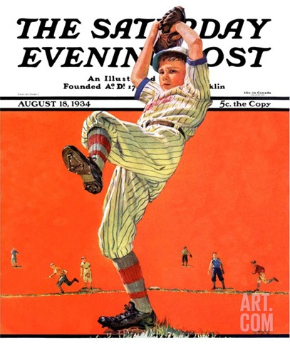 """The Windup,"" Saturday Evening Post Cover, August 18, 1934 Stretched Canvas Print"