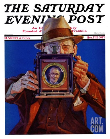 """Box Camera,"" Saturday Evening Post Cover, March 4, 1933 Stretched Canvas Print"