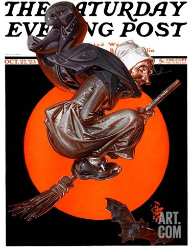 """Witches Night Out,"" Saturday Evening Post Cover, October 27, 1923 Stretched Canvas Print"