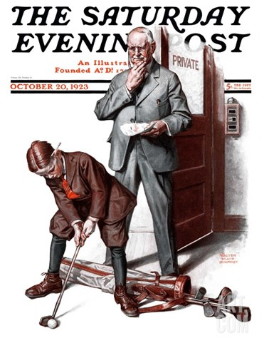 """Putting around the Office,"" Saturday Evening Post Cover, October 20, 1923 Stretched Canvas Print"