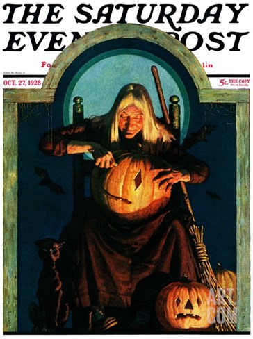 """Witch Carving Pumpkin,"" Saturday Evening Post Cover, October 27, 1928 Stretched Canvas Print"