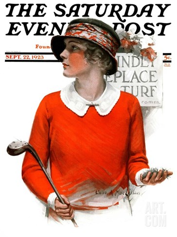 """Kindly Replace Turf,"" Saturday Evening Post Cover, September 22, 1923 Stretched Canvas Print"