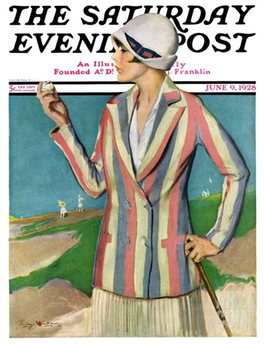 """Woman in Sandtrap,"" Saturday Evening Post Cover, June 9, 1928 Stretched Canvas Print"