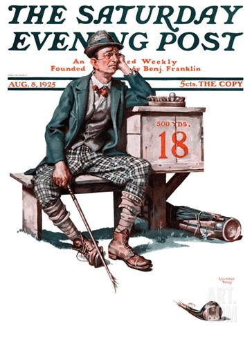 """Eighteenth Hole,"" Saturday Evening Post Cover, August 8, 1925 Stretched Canvas Print"