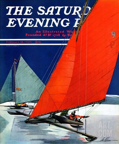 """Iceboats Racing,"" Saturday Evening Post Cover, February 18, 1939 Stretched Canvas Print"