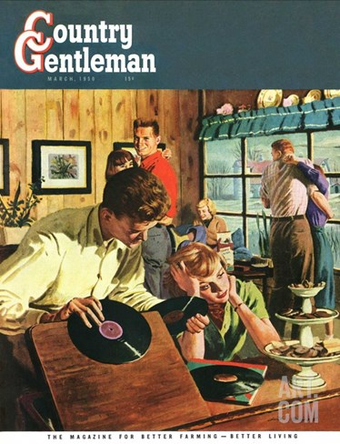 """""""Teenage Party,"""" Country Gentleman Cover, March 1, 1950 Stretched Canvas Print"""