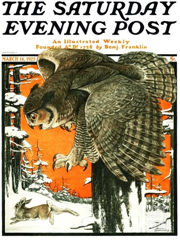 """Owl and Rabbit,"" Saturday Evening Post Cover, March 14, 1925 Stretched Canvas Print"
