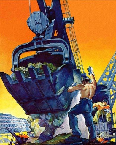 """Steam Shovel,""September 17, 1938 Stretched Canvas Print"