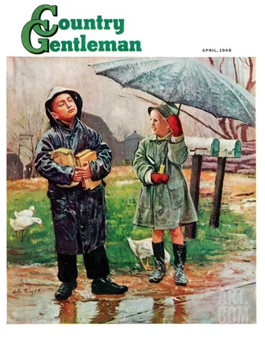 """Waiting for Bus in Rain,"" Country Gentleman Cover, April 1, 1948 Stretched Canvas Print"