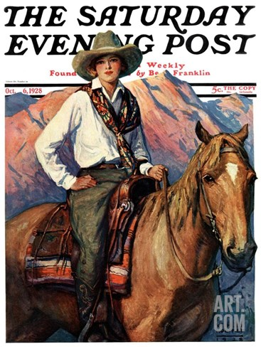 """Woman on Horse in Mountains,"" Saturday Evening Post Cover, October 6, 1928 Stretched Canvas Print"
