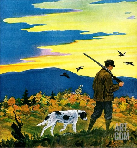 """Duck Hunter and Dog,""October 1, 1929 Stretched Canvas Print"