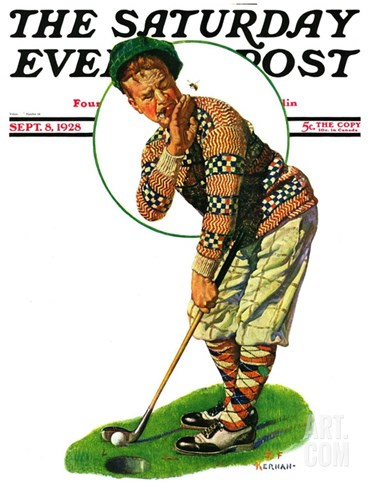 """Bee and Putter,"" Saturday Evening Post Cover, September 8, 1928 Stretched Canvas Print"