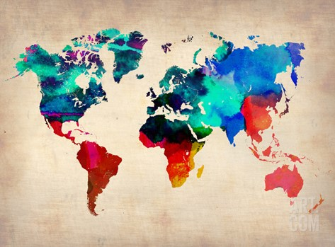 World Watercolor Map 1 Stretched Canvas Print