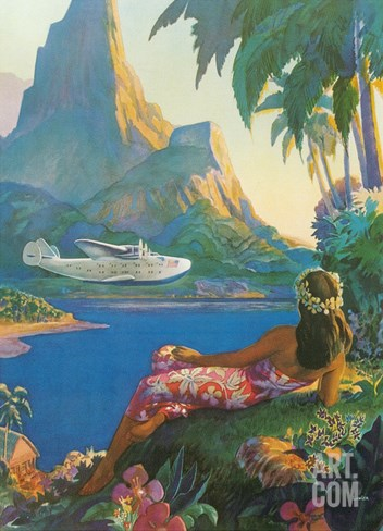 Clipper over Tahiti Stretched Canvas Print