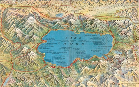 Old Map of Lake Tahoe Area Stretched Canvas Print