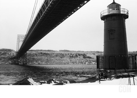 Bridge and Lighthouse Stretched Canvas Print