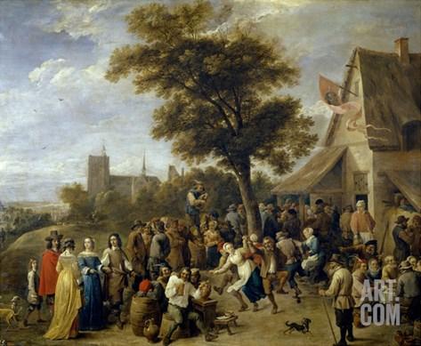 Village Feast, Ca. 1650, Flemish School Stretched Canvas Print