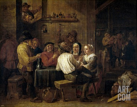 Smokers And Drinkers, 17th Century, Flemish School Stretched Canvas Print