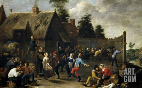 Fiesta Y Comida De Aldeanos, 1637, Flemish School Stretched Canvas Print