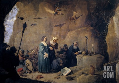The Temptations of Saint Anthony, 1647, Flemish School Stretched Canvas Print