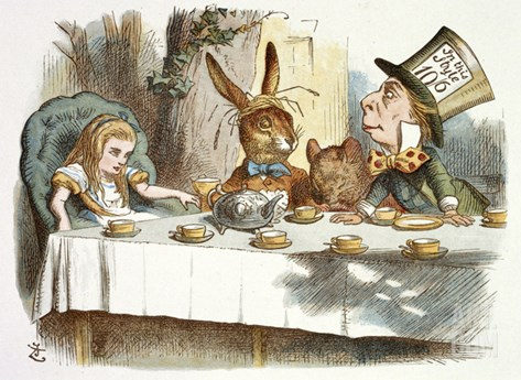 The Mad Hatter's Tea Party Stretched Canvas Print