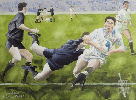Rugby Match: England v New Zealand in the World Cup, 1991, Rory Underwood Being Tackled Stretched Canvas Print