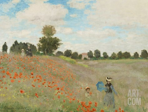 Poppy Field, Near Argenteuil, c.1873 Stretched Canvas Print