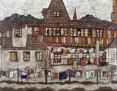 Houses with Clothes Drying, 1917 Stretched Canvas Print