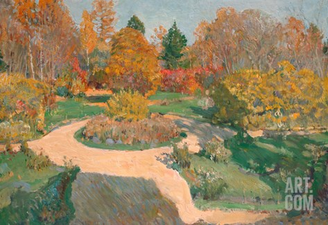 Garden in Autumn Stretched Canvas Print