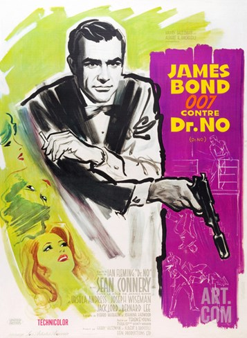 DR. NO, Sean Connery on French poster art, 1962. Stretched Canvas Print