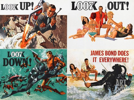 THUNDERBALL, lobbycard, Sean Connery, 1965 Stretched Canvas Print