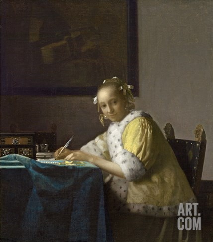A Lady Writing, C. 1665 Stretched Canvas Print