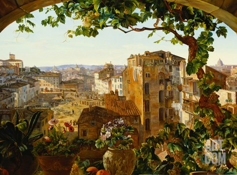 Piazza Barberini, Rome, 1830 Stretched Canvas Print