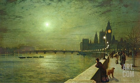 Reflections on the Thames, Westminster, 1880 Stretched Canvas Print