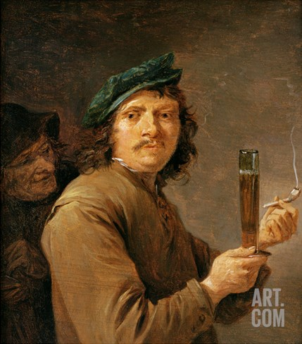 Man Holding a Pipe and a Glass of Beer Stretched Canvas Print