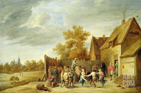 Peasants Dancing Outside an Inn Stretched Canvas Print