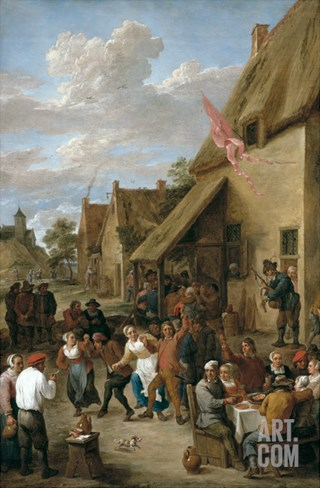 A Village Kermese with Peasants Merrymaking Stretched Canvas Print