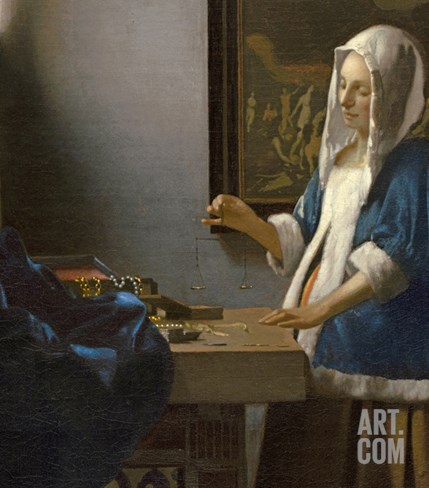 Woman Holding a Balance, C.1664 Stretched Canvas Print