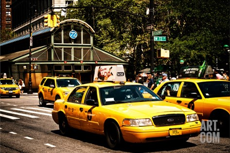 Yellow Cabs, 72nd Street, IRT Broadway Subway Station, Upper West Side of Manhattan, New York Stretched Canvas Print