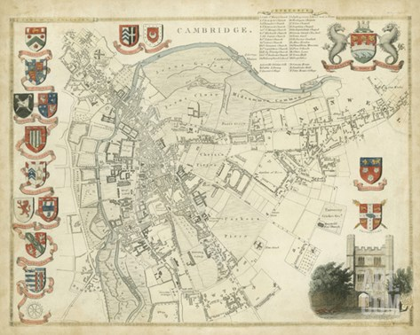 Map of Cambridge Stretched Canvas Print