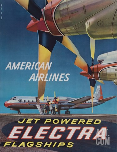 American Airlines Jet Powered Electra Flagship Travel Poster Stretched Canvas Print