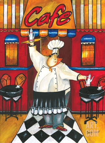 Chef at Café Stretched Canvas Print